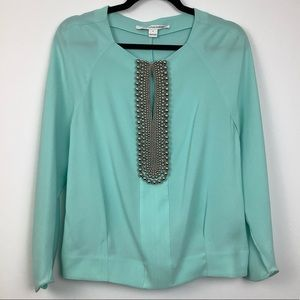 DVF Elima Embellished Blouse in Mint Green